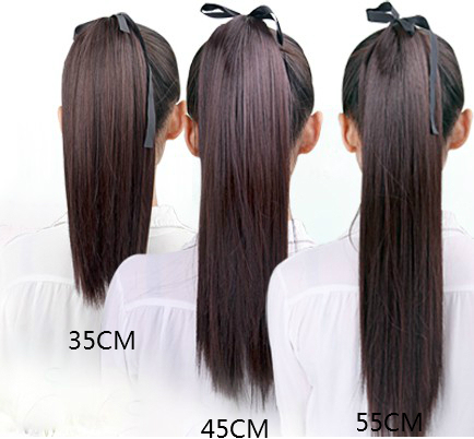 35 45 55 70cm four sizes straight long hair ponytails synthetic hair extension 4colors in. Black Bedroom Furniture Sets. Home Design Ideas