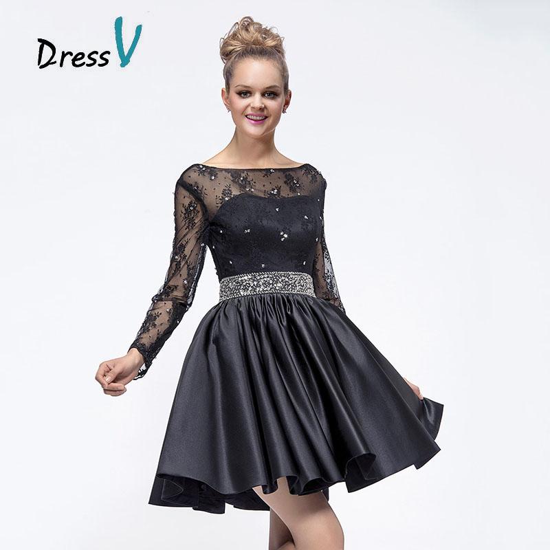 Vestidos Negros Cortos Vestidos de Fiesta 2016 Scoop Sheer Manga Larga de Encaje con Cuentas Vestidos