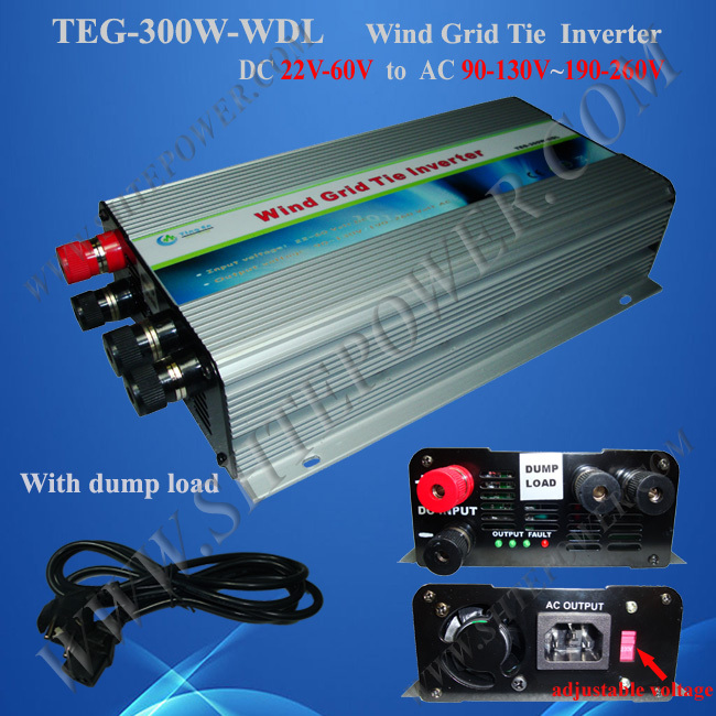 Free shipping! New 300W GRID TIE INVERTER, DC22-60V to AC90-130v &190-260volt for wind turbine
