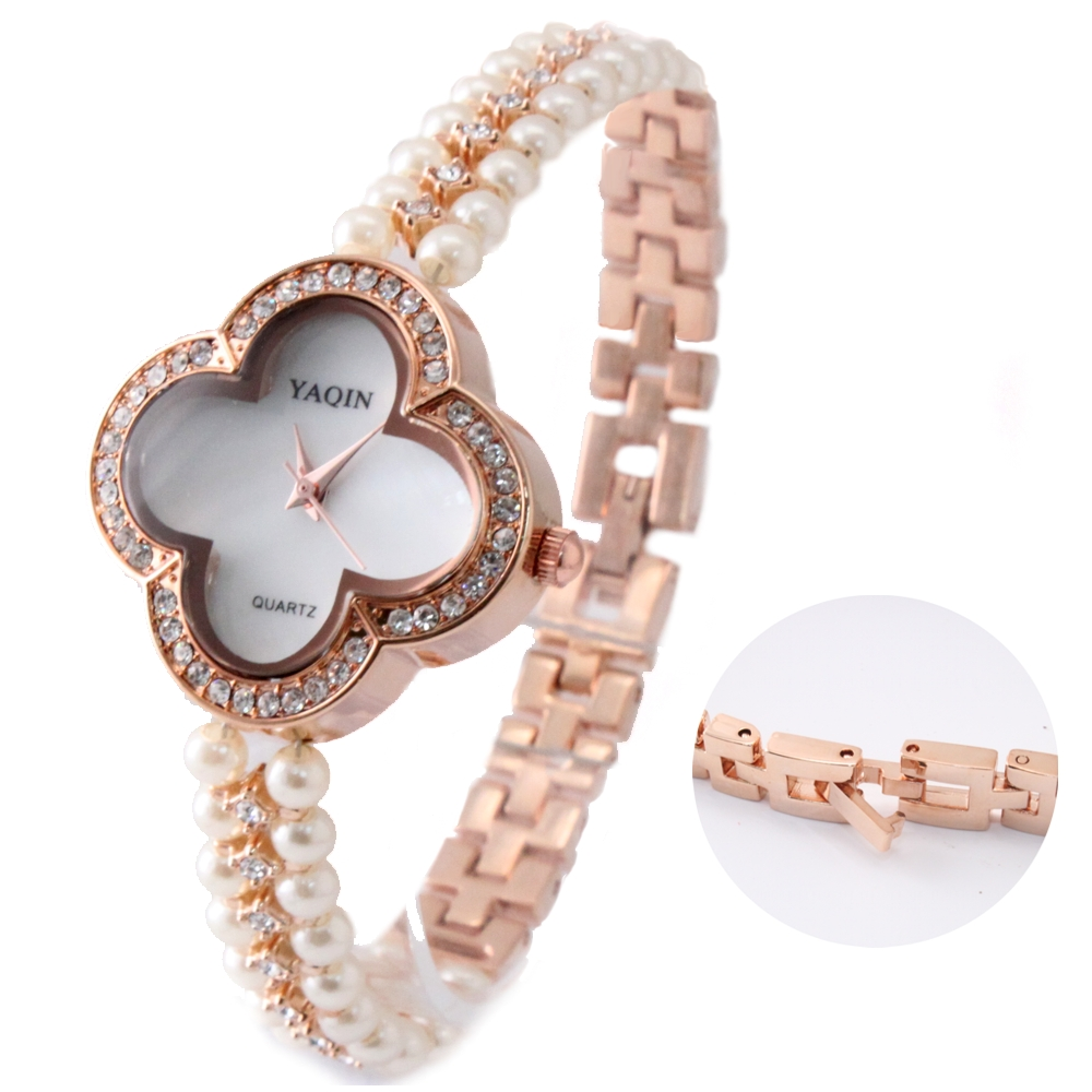 Best Choose Beautiful Flower Case Rose Gold Tone Band White Dial Ladies Women Immited Pearl Bracelet Watch FW925A(China (Mainland))