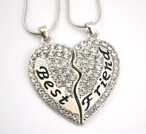 Latest Product 30set a lot Best Friend clear crystal heart pendant family necklace set with snake chain(China (Mainland))