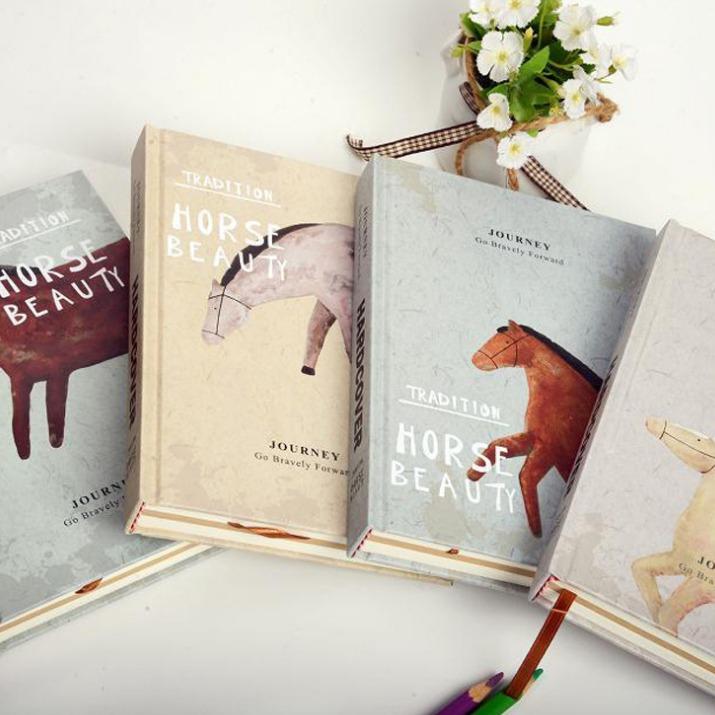 Horse Beauty Hard Cover Printed  Diary DIY Planner Pocket Journal School Study Notebook Korean Agenda Notepad Memo Gift<br><br>Aliexpress