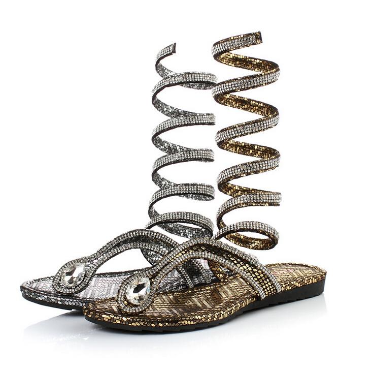 2016  women sandals Crystal Around Women Gladiator Sandal women Boots  Arrive Snake Flat Women Summer Shoes sandalias mujer s309<br><br>Aliexpress