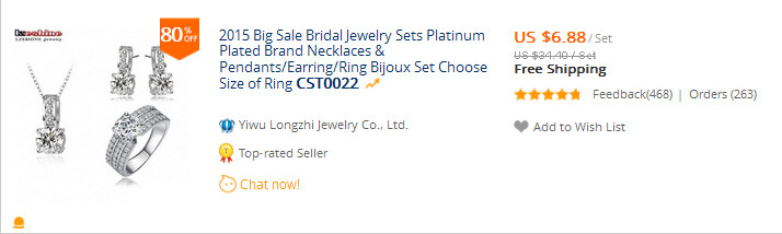 2015 Big Sale Bridal Jewelry Sets Platinum Plated Brand NeckКружевоs & Pendants/Earring/Ring ...