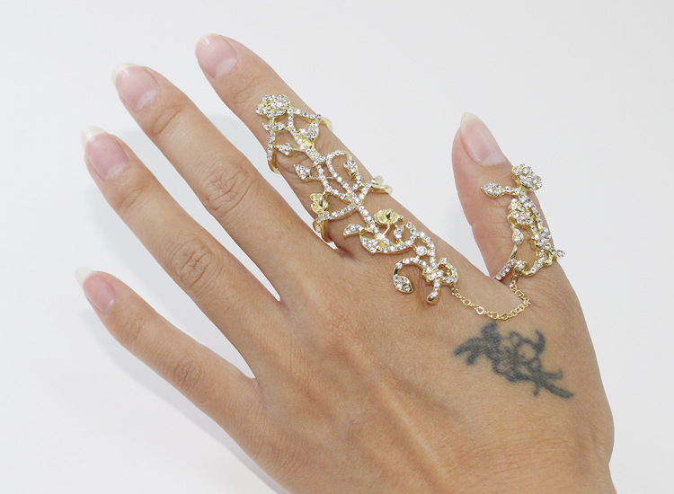 Punk Style Women Gold Silver Plated Alloy Chain Two Finger Rings Link Double Ring Tree(China (Mainland))