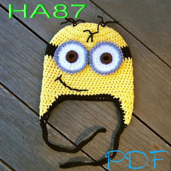 free shipping, Bran-New 60pcs/lot Despicable me minion beanie 100% handmade crochet baby/girls/boys hat<br><br>Aliexpress