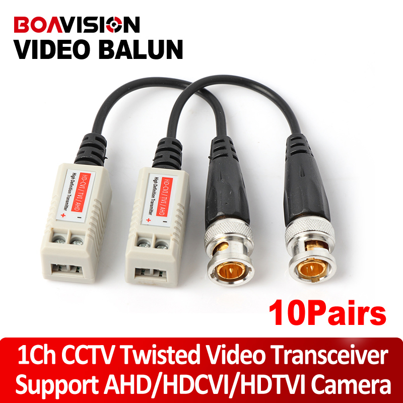 10Pairs Twisted BNC CCTV Passive Transceivers Cat5 CCTV UTP Video Balun For 720P AHD & HDCVI & TVI Camera Upto 660ft(200m) Range(China (Mainland))