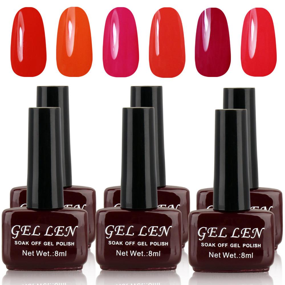 Gel Len 8ml Nail Art UV Gel Colour Soak off Red Polish UV LED lamp 6 different Red Colour set free shipping(China (Mainland))