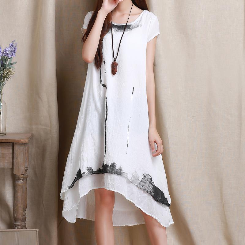 woman irregular loose summer dresses desigual patchwork tropical long linen dress robe asymmetrical casual dress vestidos largosОдежда и ак�е��уары<br><br><br>Aliexpress