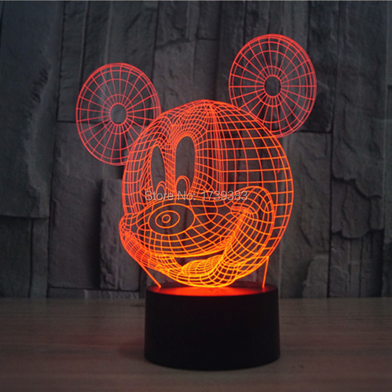 Glowing 7 Color Changing Cartoon Mickey Mouse 3D Acrylic LED Night Light USB LED Decorative Table Lamp Baby Desk Lighting(China (Mainland))