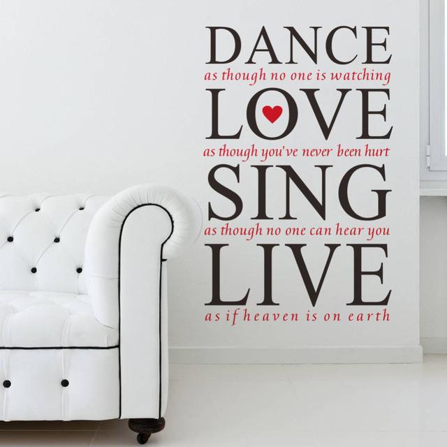 23 * 36 '' танец любви петь вживую котировки на стены виниловые наклейки спальня съемные декор наклейка искусства надписи фреска