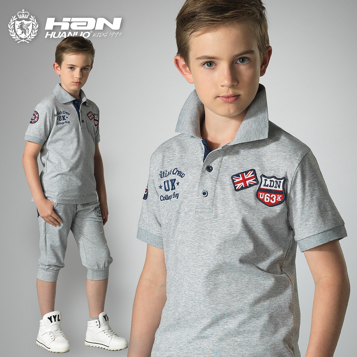 Boys summer suit 2016 new children's clothing brand fashion short-sleeved t-shirt + shorts two-piece kids sports clothing trend(China (Mainland))