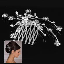 9 x 6 cm Little Flower Wedding Party Prom Crystal Hair comb Clip Pin Rhinestone drop Shipping(China (Mainland))