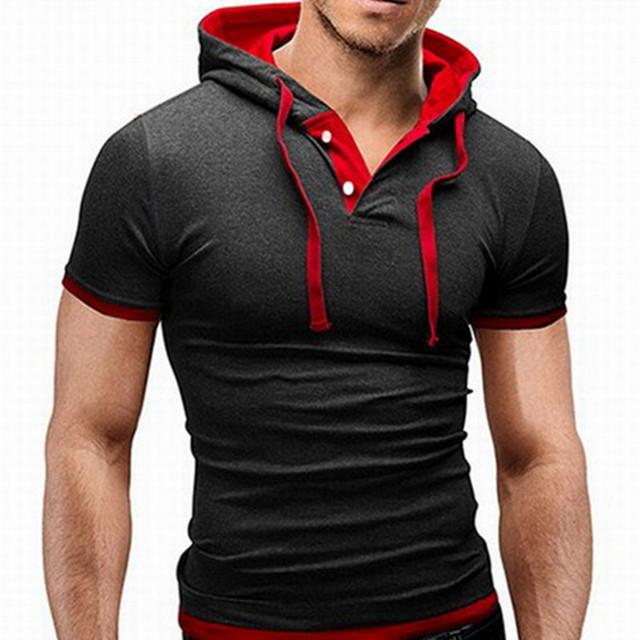 Famosa marca ropa de ucrania Hombre gimnasio T,Shirt con sombrero Top Tees Plus talla