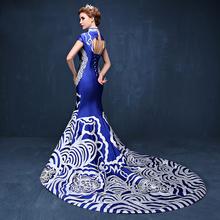 2016 Luxury Royal Blue Mermaid Evening Gowns China Oriental Dresses Trailing Qipao Cheongsam Chinese Traditional Wedding Dress