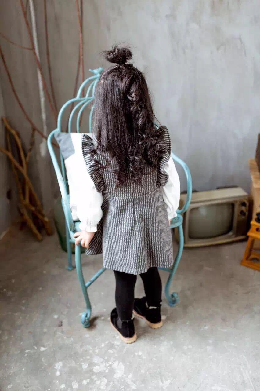 Скидки на 2016 осень и зима новый Корейский маленькие дети все матч вертикальная полоса Платье Без Рукавов Бесплатная Доставка