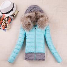 Slim cotton padded jacket fur knit hooded winter parka,women outerwear coat,womens jackets coats parka TT900 - Xiao Feng women's store