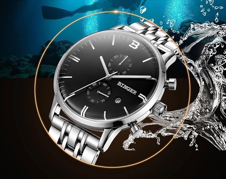 2016 Мужские Часы Лучший Бренд Класса Люкс Кварцевые Часы Мода Из Нержавеющей стали Наручные Часы Бингер мужчины relogios masculinos reloj hombre
