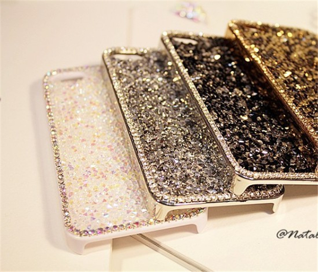 Luxury Crystal Mobile Accessories Diamond Rinestones Cell Phone Case Cover Pouch Decoration for IPHONE 5S 5 5g Five Colors(China (Mainland))