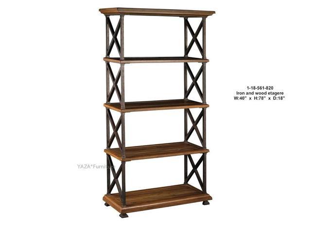 Style am ricain bois massif biblioth ques faire du vieux fer forg ancien pin - Bibliotheque fer et bois ...