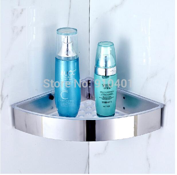 Stainless Steel Bathroom Shelf Wall Mounted Chrome Corner Shelf Shower Caddy Storage Holder(China (Mainland))