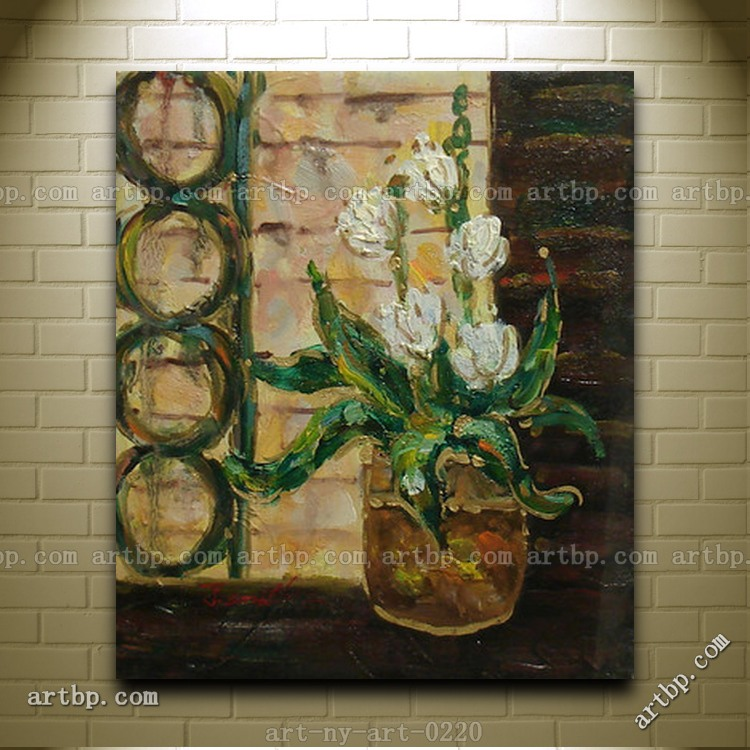 Contemporary Oil Painting Of White Flowers In Vase Still Life Canvas Headboard Wall Panel For Decoration(China (Mainland))