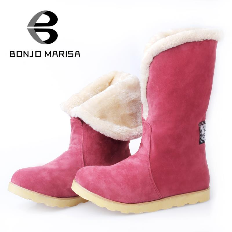 Aliexpress.com  Buy BONJOMARISA Snow Warm Fur Boots Women Fashion Flat Heel Platform Winter ...