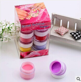 Free Shipping Acrylic Nail Kit 3d Carved Powder Acrylic Powder Carve Patterns Liquid Crystal Fluid 24 Colors For Choice(China (Mainland))