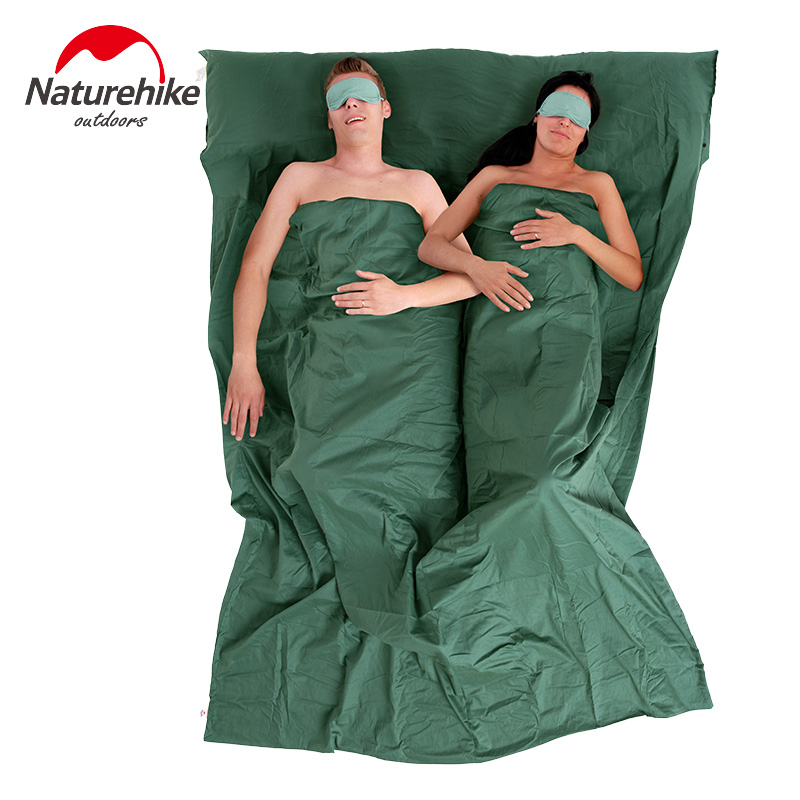 Naturehike Double Envelope Sleeping Bag Liner Cotton Ultralight Portable Camping Travel 2 Person Summer Sleeping Bag 160*220cm(China (Mainland))