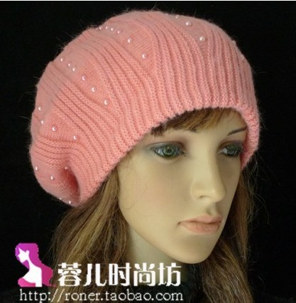 Rabbit fur beret noble women's winter hat cashmere knitted wool ball cap ear protector - Women's Fashion Headbands store