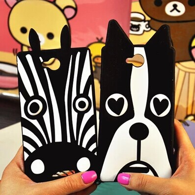 Free shipping 3D cute zebra and dog skin soft silicone phone case Cover For Sony Xperia C S39H C2305(China (Mainland))