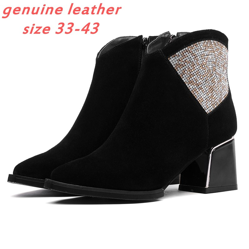 Plus size 33-43 fashion full genuine leather women boots rhinestone high heel martin boots 2015 new winter warm fur ankle boots<br><br>Aliexpress