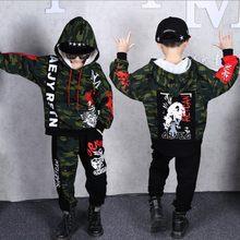 힙합 스타일 2019 가을 새로운 도착 소년 스포츠 의류 정장 어린이 스웨터 남성 키즈 패션 인쇄 춤 의류 x344(China)