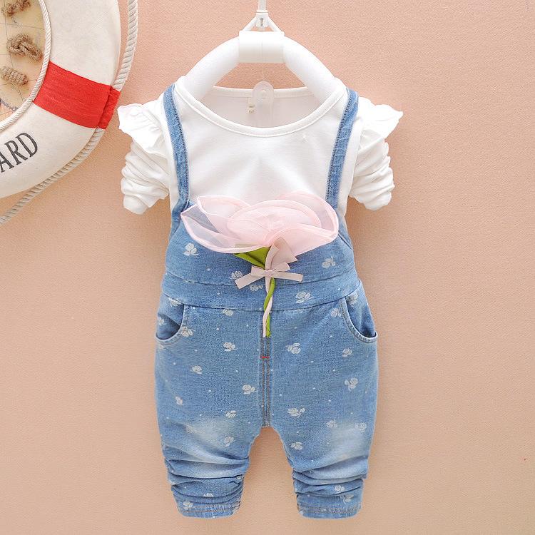 EMS/DHL 2015 HOT Girl Large Flower children's clothes Autumn Flowers T-Shirt+Jeans Two Piece Sets