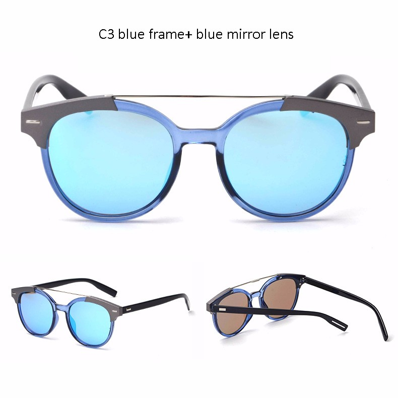 Fashion Women Round Mirror Sun Glasses Men Classic Retro Shades Double Bridge Eyeglasses Multicolor Metal Frame Sunglasses UV400