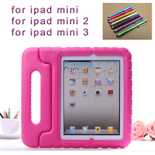 Stylus pen + New Cute Proof EVA Cover For Apple iPad MINI Cases Kids Children Safe Silicon for iPad mini 3 2 1 Protective Cases(China (Mainland))