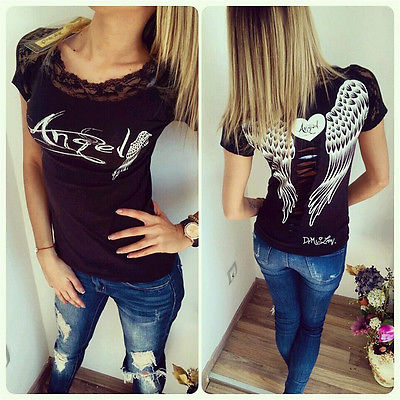 2016 New spring summer T-shirts women unique angel wings back printing short sleeve loose tshirt ladies lager size t shirt women(China (Mainland))