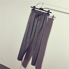 2015 Spring Autumn Women Vintage BF Loose Elastic Waist Harem Pants Female Roll-up Hem Ankle Length Trousers Sports Pants