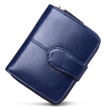 Genuine Real Leather Women Short Wallets Small Wallet Zipper Coin Pocket Credit Card Wallet Female Purses