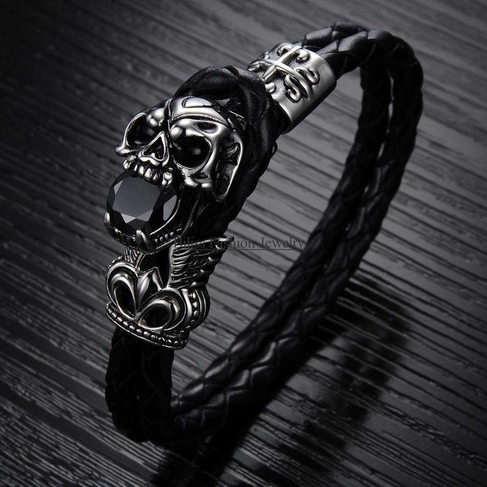 "Vintage 7.09"" Double Layers Black Leather Warp Bracelet mens bracelets 2015 Vintage Skull Braided Wristband (with Gift Bag)(China (Mainland))"