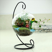 New Hot Clear Glass Round with 1 Hole Flower Plant Stand Hanging Vase Hydroponic Home Office Wedding Decor(China (Mainland))