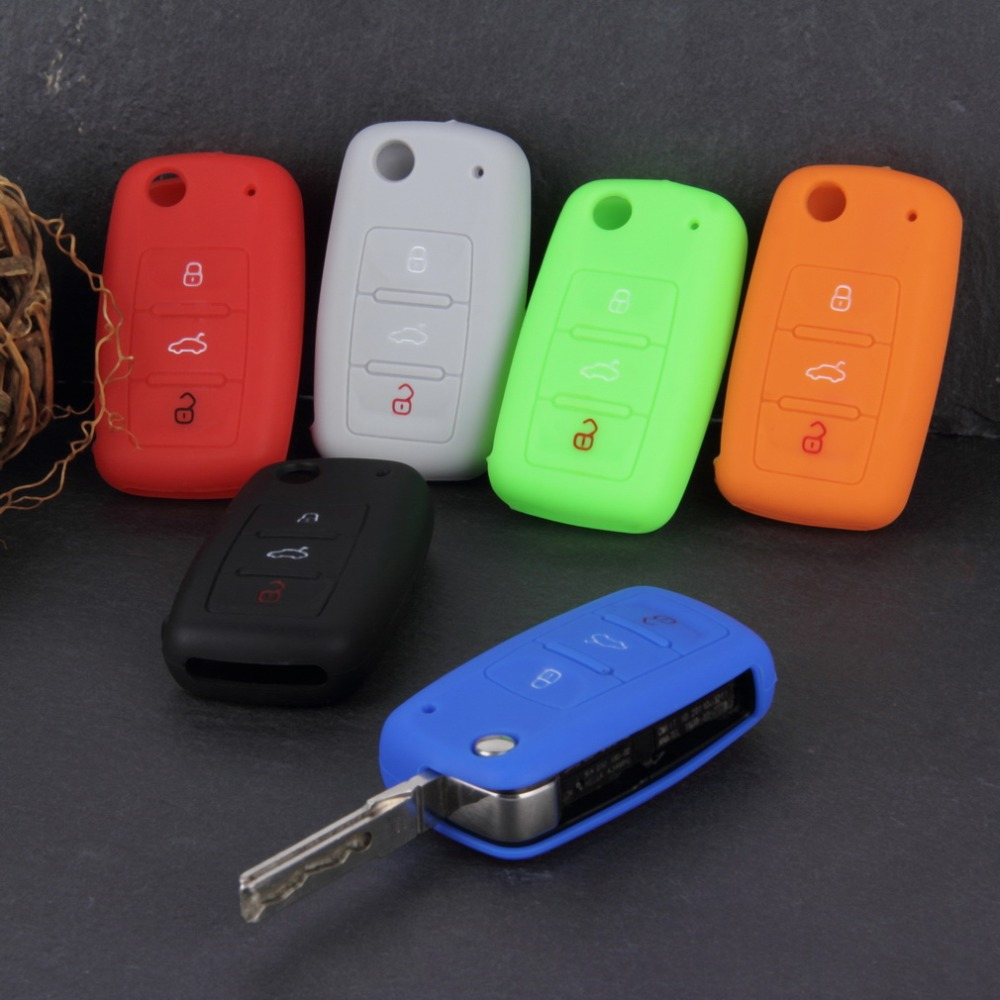 Universal Silicone Car Key Holder Case Cover Candy Color Turma do Chaves Case Car Accessories for Volkswagen VW<br><br>Aliexpress