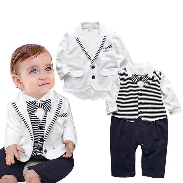 Джентльмен новорожденный комбинезон с длинным рукавом мальчик установить белый пальто ...
