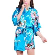 2015 Women Robe Pajama Japanese Yukata Kimono Satin Silk Vintage Bathrobe Nightgown Sexy Lingerie Sleepwear S M L XL XXL(China (Mainland))