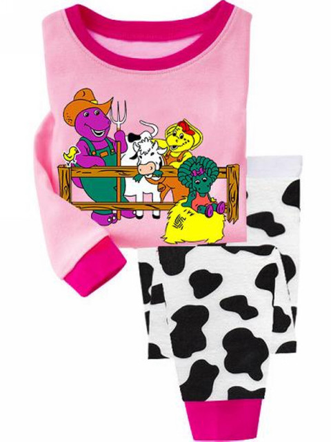 2013 new brand cuddle me Boys Girls Clothing Set Children Pajamas Pyjamas barney in farm sleepwear 6501