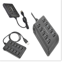 High speed 10 Port USB 2.0 Charger with one Switch build-in USB Cable plug & play no need drive for PC/Mobile Phone