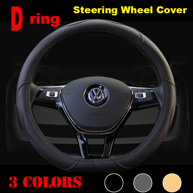 D Ring Car Steering Wheel Cover Leather For Volkswagen VW Golf 7 GTi Mk7 Golf7 Scirocco Sagitar Lavida Polo 2015 Car Accessories(China (Mainland))