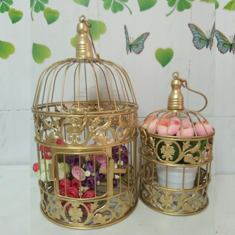 Gold bird cage promotion shop for promotional gold bird cage on - Decoration cage oiseau ...