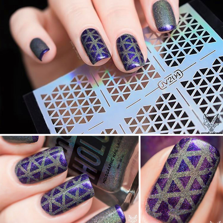 12 tips sheet irregular chic triangle rose flowers pattern nail vinyls nail art manicure stencil. Black Bedroom Furniture Sets. Home Design Ideas