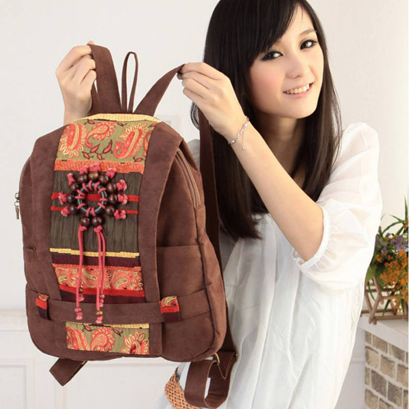 New 2015 fashion womens vintage backpack female preppy style printing wood beads travel canvas shoulder bag backpack<br><br>Aliexpress